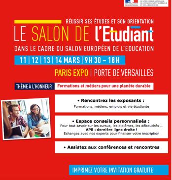 Le salon de l tudiant du 11 au 14 mars 2016 fac for pro le blog - Invitation salon de l etudiant ...